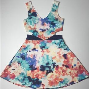Charlotte Russe Watercolor Floral Cutout Dress
